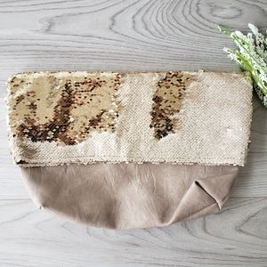 ANTHROPOLOGIE Shimmer Foldover Clutch new with tag